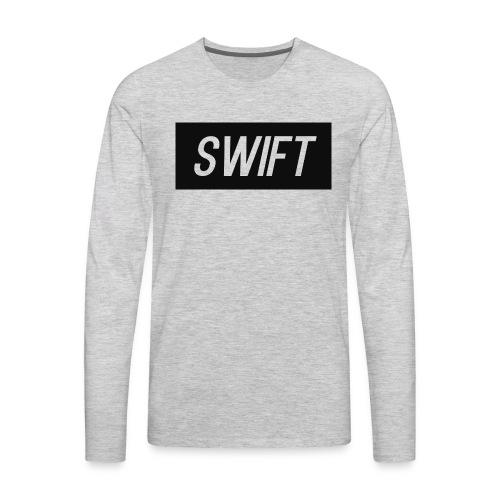 Mens Black & Grey - Hoodie : Swift Logo - Men's Premium Long Sleeve T-Shirt
