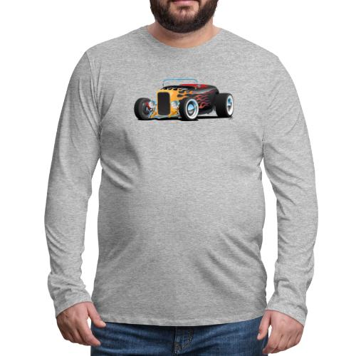 Custom Hot Rod Roadster Car with Flames - Men's Premium Long Sleeve T-Shirt