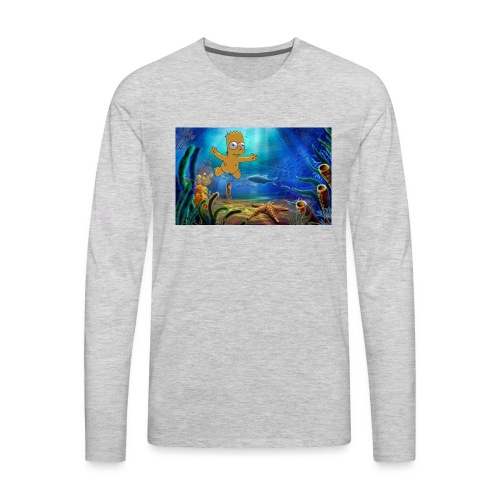 Bart Simpson Posing as the nirvana Boi - Men's Premium Long Sleeve T-Shirt
