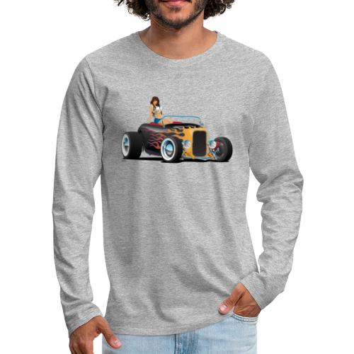 Custom Hot Rod Roadster Car with Flames and Sexy W - Men's Premium Long Sleeve T-Shirt