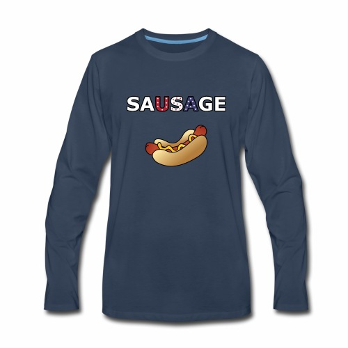 Patriotic BBQ Sausage - Men's Premium Long Sleeve T-Shirt