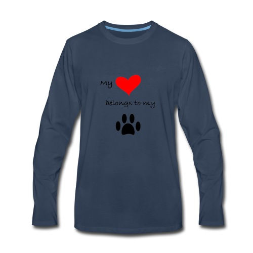 Dog Lovers shirt - My Heart Belongs to my Dog - Men's Premium Long Sleeve T-Shirt