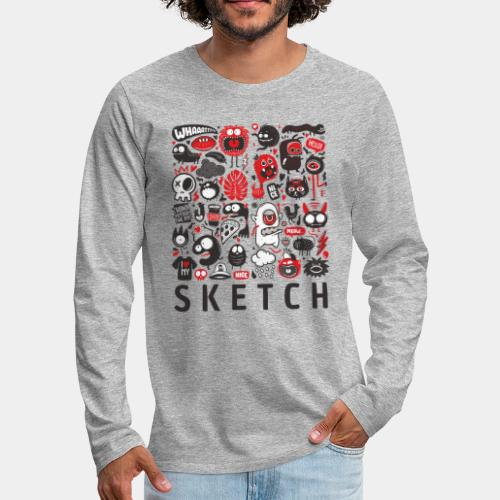 animals sketch design monsters - Men's Premium Long Sleeve T-Shirt