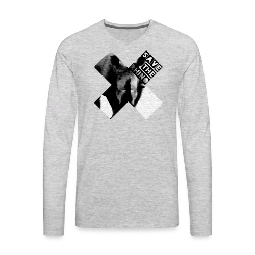 3D Save The Rhino (Black and White) - Men's Premium Long Sleeve T-Shirt
