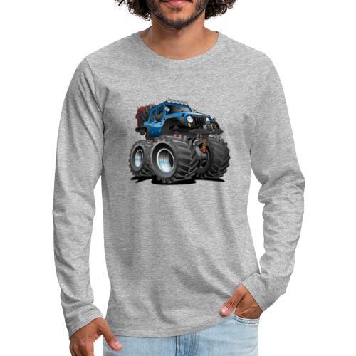 Off road 4x4 blue jeeper cartoon - Men's Premium Long Sleeve T-Shirt