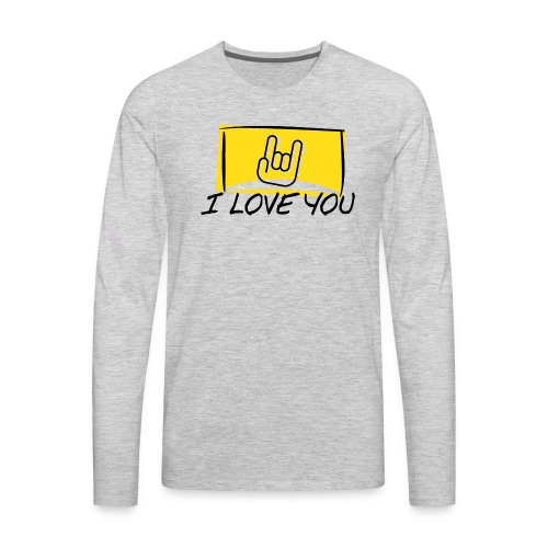 I Love You with sign language Yellow window. - Men's Premium Long Sleeve T-Shirt