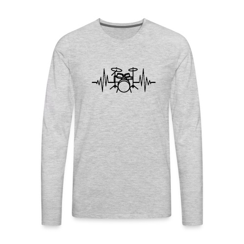 Drums Heartbeat Funny drummer - Men's Premium Long Sleeve T-Shirt