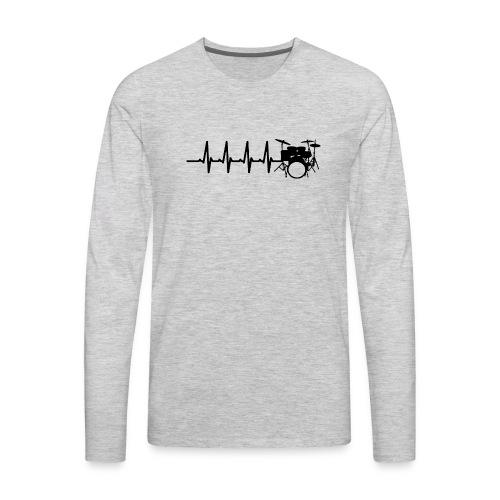 Drums Heartbeat Funny drummer - Men's Premium Long Sleeve T-Shirt