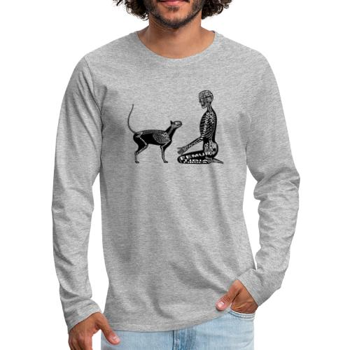 Skeleton Human and Cat - Men's Premium Long Sleeve T-Shirt