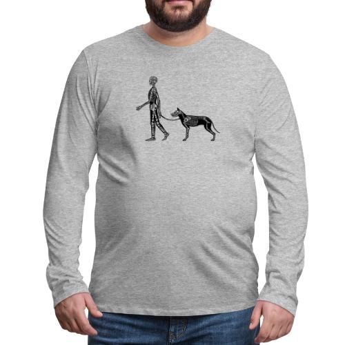 Skeleton Human and Dog - Men's Premium Long Sleeve T-Shirt