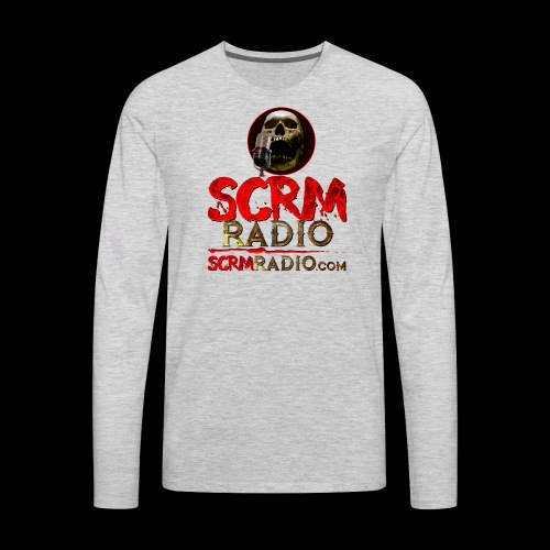 SCRM Radio Logo with Skull - Men's Premium Long Sleeve T-Shirt