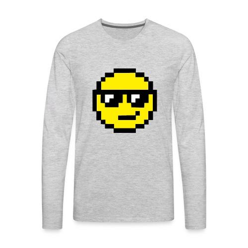 Pixel Smiley Yellow - Men's Premium Long Sleeve T-Shirt