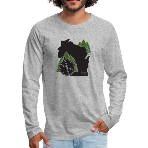 Wisconsin Compass Logo - Men's Premium Long Sleeve T-Shirt