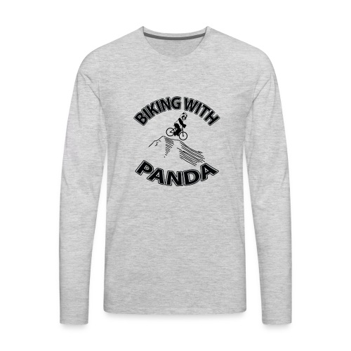 Biking with Panda - Men's Premium Long Sleeve T-Shirt