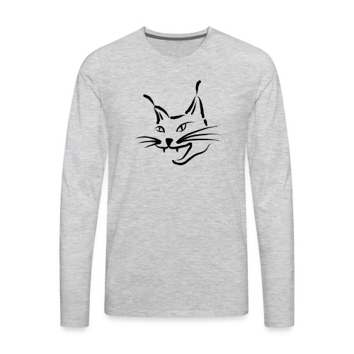 lynx cougar lion wildcat bobcat cat wild hunter - Men's Premium Long Sleeve T-Shirt