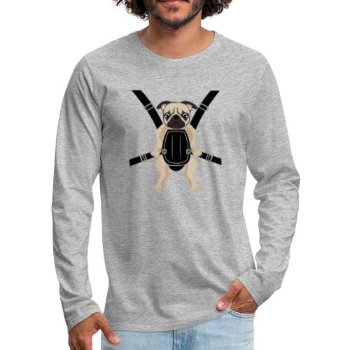 Funny Cute Baby PUG Carrier with Strap On - Men's Premium Long Sleeve T-Shirt