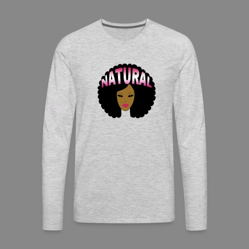 Natural Afro (Pink) - Men's Premium Long Sleeve T-Shirt