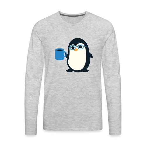 Penguin Coffee Cute - Blue Glasses - Men's Premium Long Sleeve T-Shirt