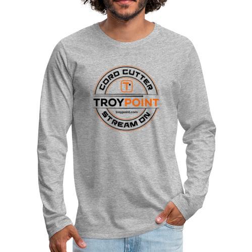 TROYPOINT Cord Cutter - Navy Logo - Men's Premium Long Sleeve T-Shirt
