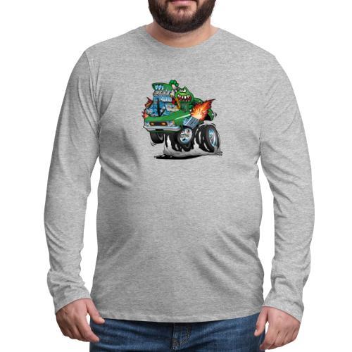 Seventies Green Hot Rod Funny Car Cartoon - Men's Premium Long Sleeve T-Shirt