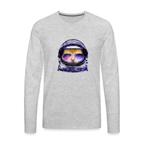 Kitty in Space Blue Camo - Men's Premium Long Sleeve T-Shirt