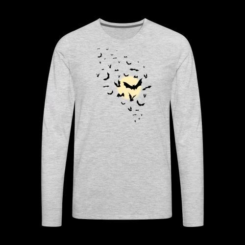 The Moon With Bats Halloween T shirt High Quality - Men's Premium Long Sleeve T-Shirt