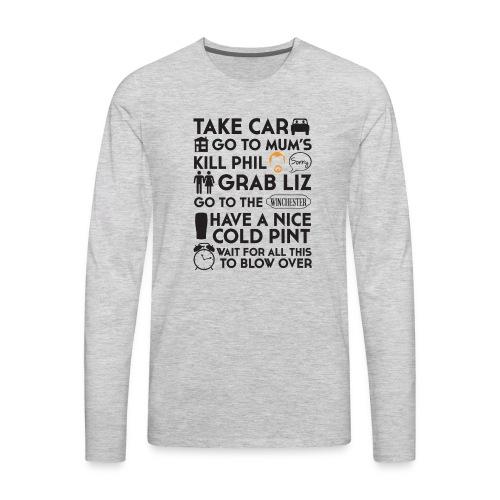 SHAUN OF THE DEAD THE PLAN - Men's Premium Long Sleeve T-Shirt