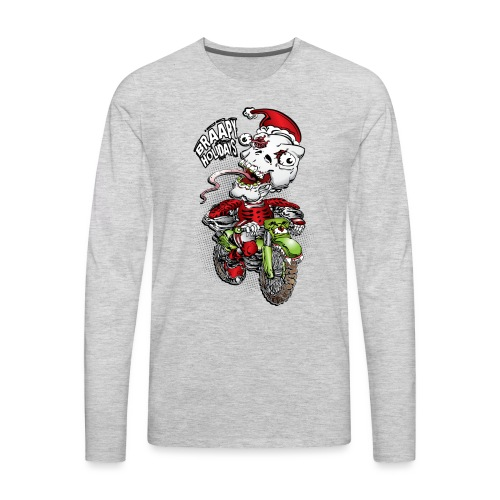 Psycho Skull Santa MotoX - Men's Premium Long Sleeve T-Shirt