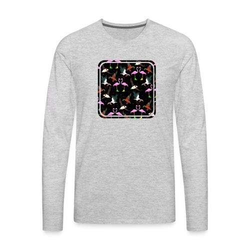 Birds wearing winter clothes pattern - Men's Premium Long Sleeve T-Shirt
