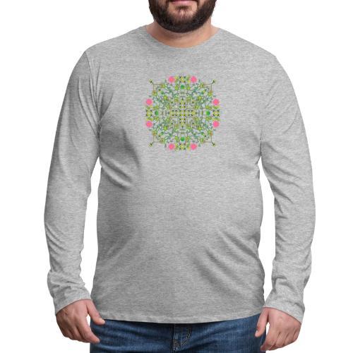 Funny green frogs hunting flies mandala design - Men's Premium Long Sleeve T-Shirt