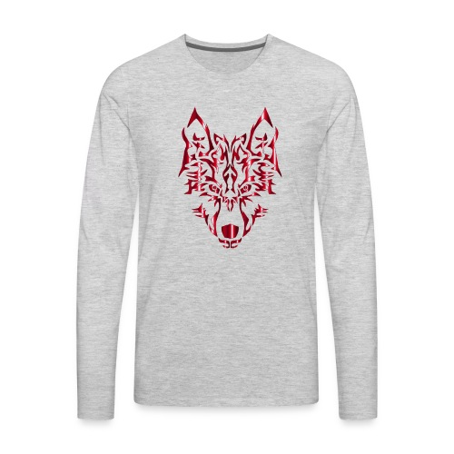 Crimson Symmetric Tribal Wolf No Background - Men's Premium Long Sleeve T-Shirt