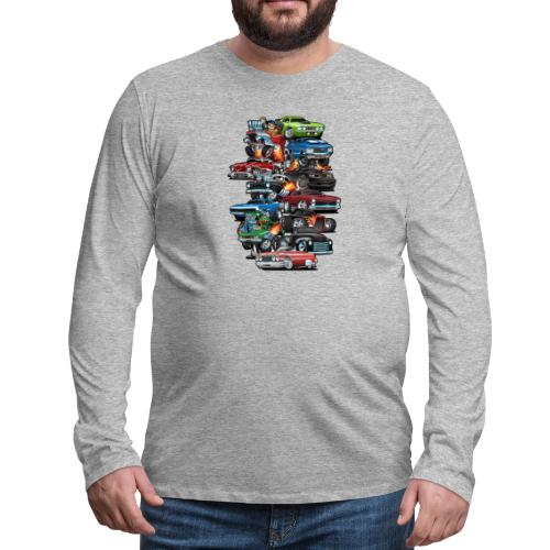 Car Madness! Muscle Cars and Hot Rods Cartoon - Men's Premium Long Sleeve T-Shirt