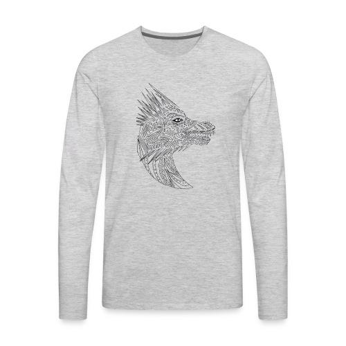 black art deco dragon head - Men's Premium Long Sleeve T-Shirt