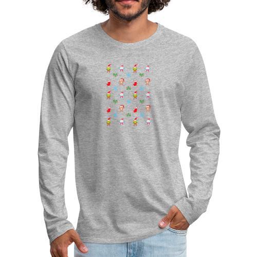 Teddy, mouse elf and snowman Christmas pattern - Men's Premium Long Sleeve T-Shirt