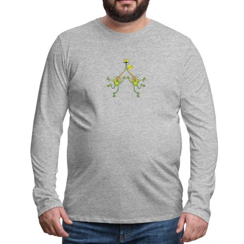 Two green frogs fighting to eat an unlucky fly - Men's Premium Long Sleeve T-Shirt