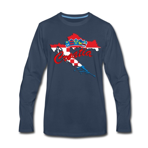 Croatia Football Team Colours T-Shirt Treasure Des - Men's Premium Long Sleeve T-Shirt