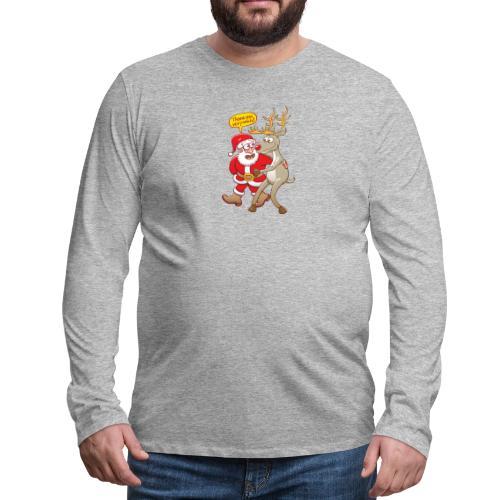 Santa Claus deeply thanks his red-nosed reindeer - Men's Premium Long Sleeve T-Shirt