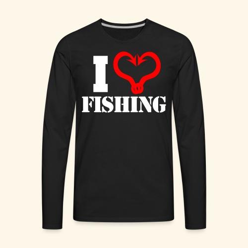 I heart fishing WHITE - Men's Premium Long Sleeve T-Shirt