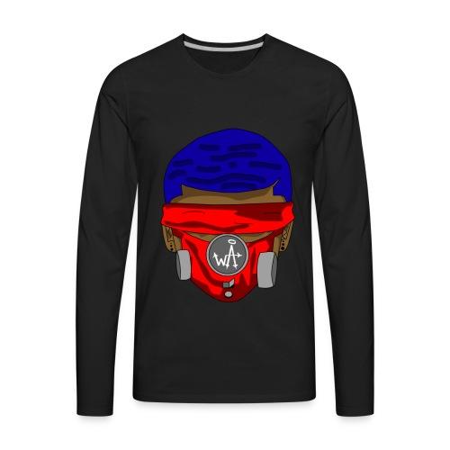 Blue Top - Red Masks - Men's Premium Long Sleeve T-Shirt