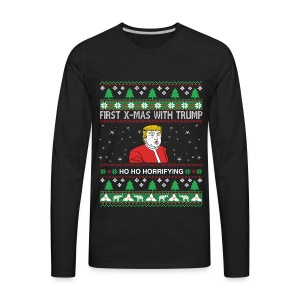 Ho Ho Horrifying ugly Christmas sweater - Men's Premium Long Sleeve T-Shirt