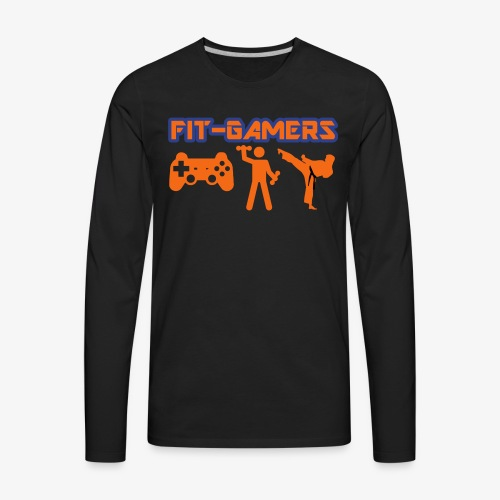 FIT-GAMERS Logo w/ Icons - Men's Premium Long Sleeve T-Shirt