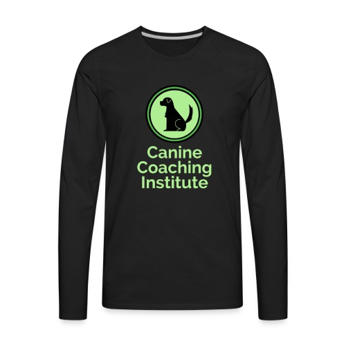 Canine Coaching Institute Logo with Light Green - Men's Premium Long Sleeve T-Shirt