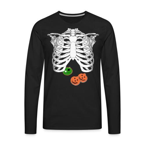 Halloween Trick o Treat Skeleton Donut Lover Shirt - Men's Premium Long Sleeve T-Shirt