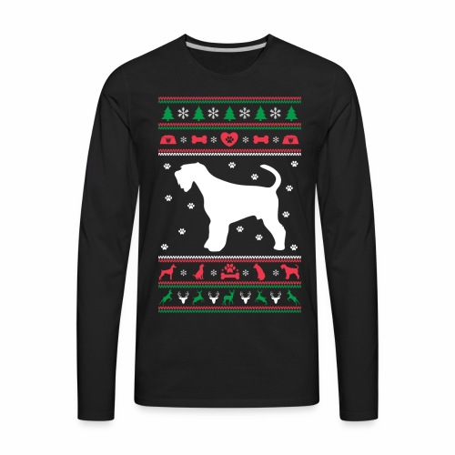 Ugly Sweater Christmas Airedale dog - Men's Premium Long Sleeve T-Shirt