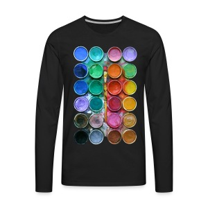 watercolor rainbow abstraction pallete T-shirt - Men's Premium Long Sleeve T-Shirt