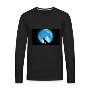 488234 wolf howling at the moon wallpaper 2560x144 - Men's Premium Long Sleeve T-Shirt