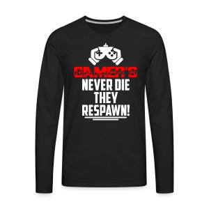 Gamer's Never Die Retro - Men's Premium Long Sleeve T-Shirt
