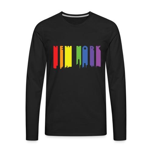 NY Paint drip effect design rainbow - Men's Premium Long Sleeve T-Shirt