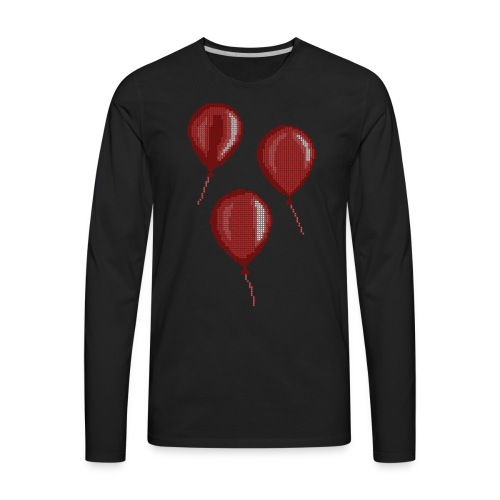 Three Red Balloons Cross Stitch Design - Men's Premium Long Sleeve T-Shirt