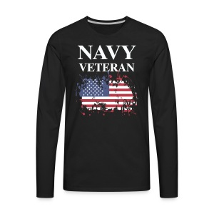 NAVY VETERAN American Flag - Men's Premium Long Sleeve T-Shirt
